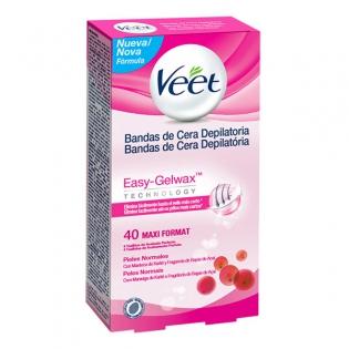 Veet Normal Skin Easy Gelwax Plaukų šalinimo vaško juostelės (40vnt.)