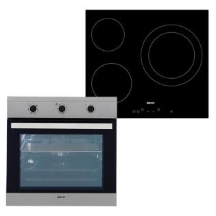 Set di Forno e Piano cottura in Vetroceramica BEKO BIE22101X+HIC63401T 65 L  TouchControl Inox Acciaio Nero
