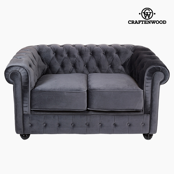 Chesterfield Sofa 2-Sitzer Samt Grau - Relax Retro Kollektion by ...