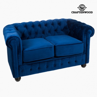 2 Seater Chesterfield Sofa Velvet Blue - Relax Retro Collection by ...