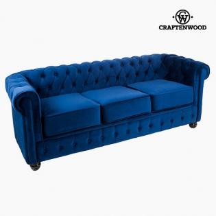 3 Seater Chesterfield Sofa Velvet Blue - Relax Retro Collection by ...