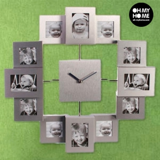 Buy All Aluminium Wall Clock With 12 Photo Frames At Wholesale Price