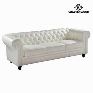 Divano a 3 Piazze Ecopelle Bianco (210 x 86 x 69 cm) by Craftenwood ...